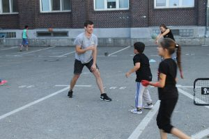 Me playing soccer with the shelter's kids