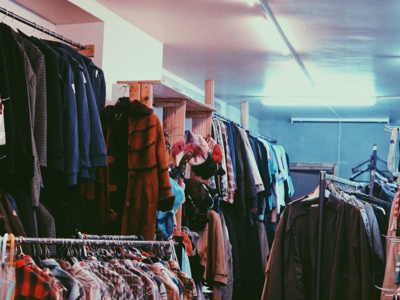 Clothes in a secondhand shop