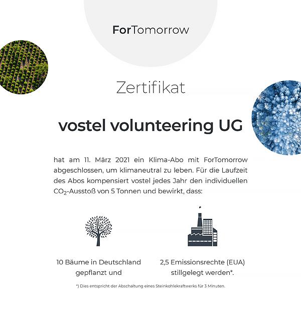 Zertifikat vostel volunteering UG über ein Klima-Abo mit ForTomorrow