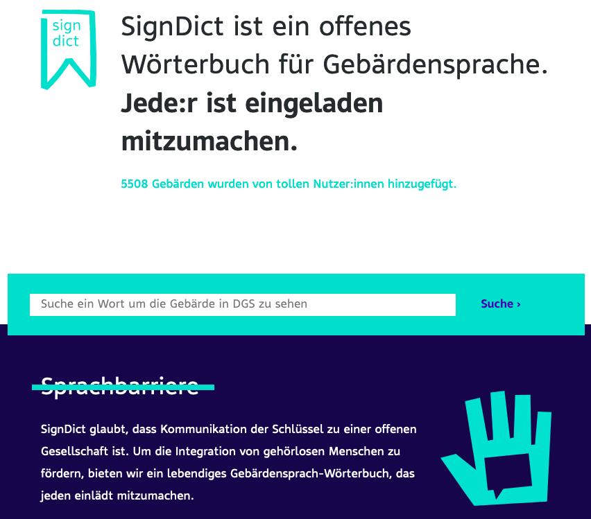 Screenshot der SignDict Webseite