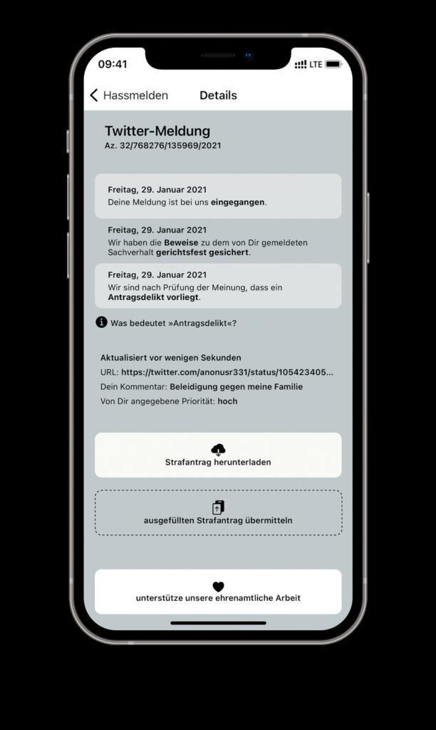 Handy mit der HassMelden App