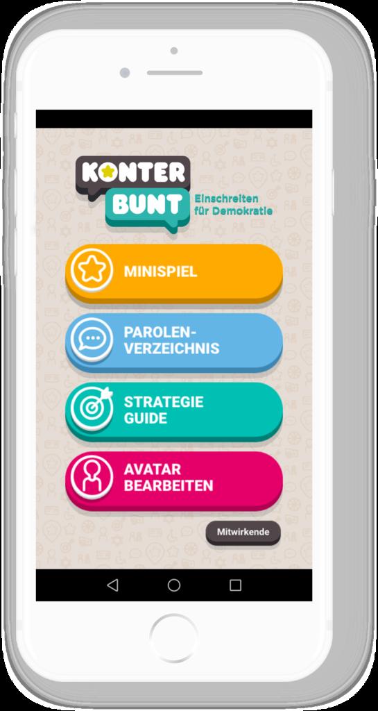 Handy mit Bild der KonterBunt App