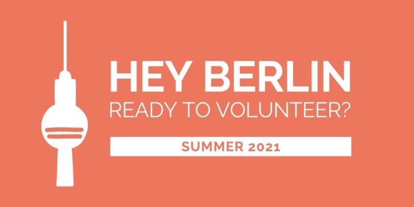 Illustration des Fernsehturms mit der Frage: Hey Berlin, are you ready to volunteer?