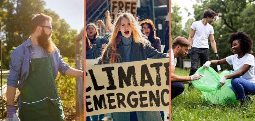 3 Bilder, 1 Gärter, 1 Protestierende auf einer Demo, 3 Meschen bei einem Clean-Up